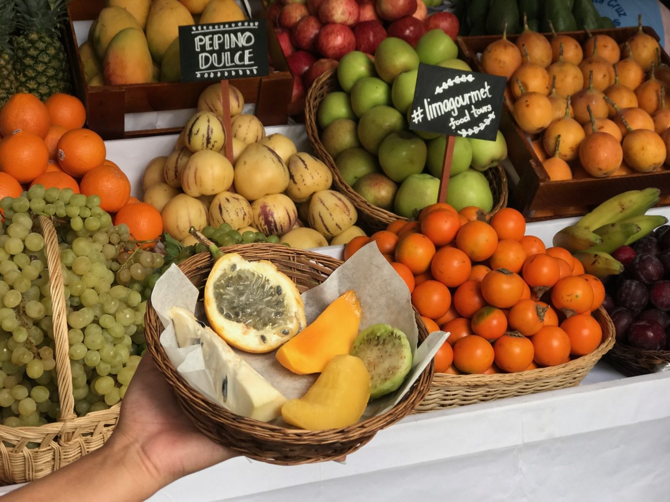 Assorted fresh Peruvian fruit for sale in Lima