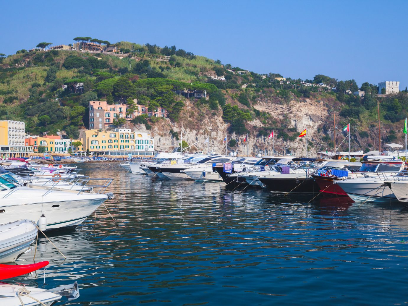 Boats in harbor of Lacco Ameno in Italy