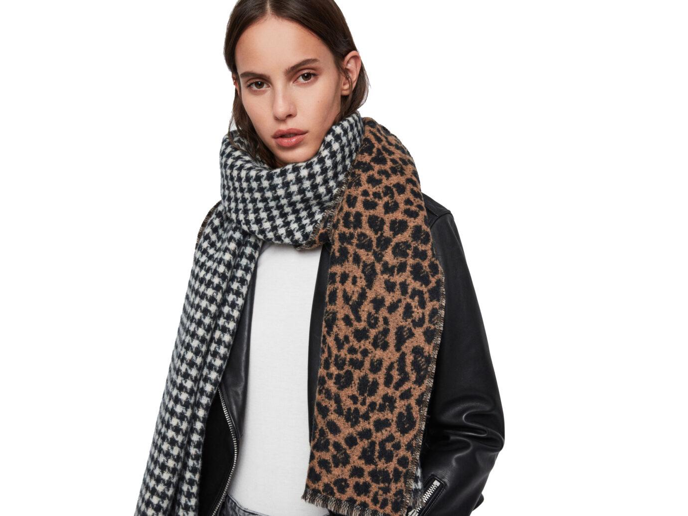 Allsaints Reversible Leopard Scarf