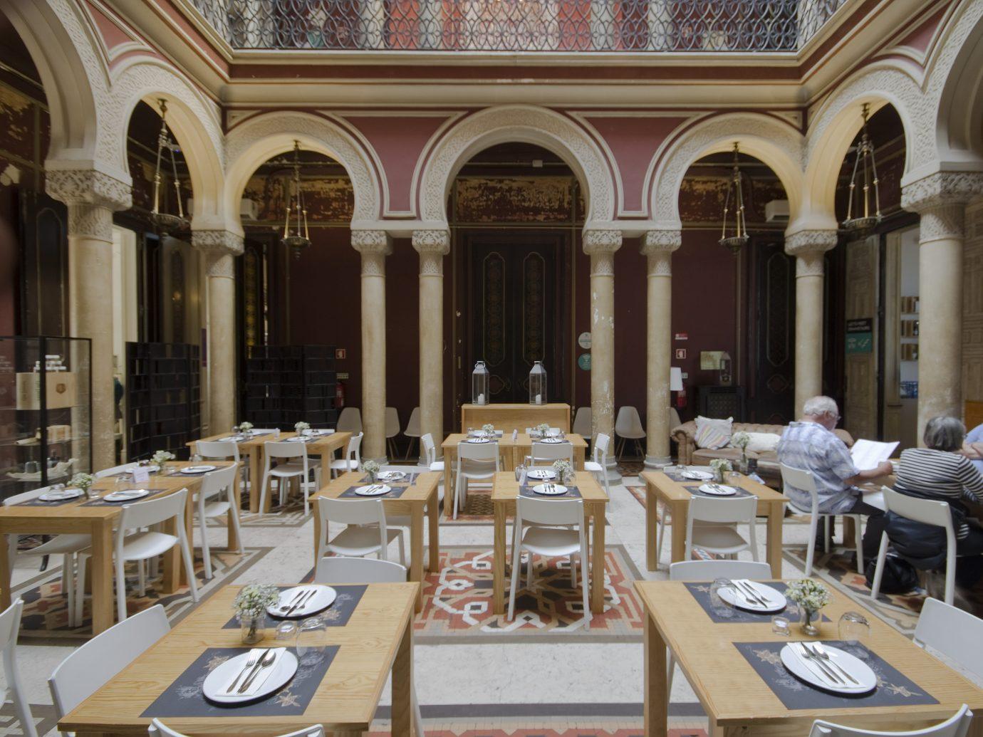 Dining interior in Embaixada's courtyard