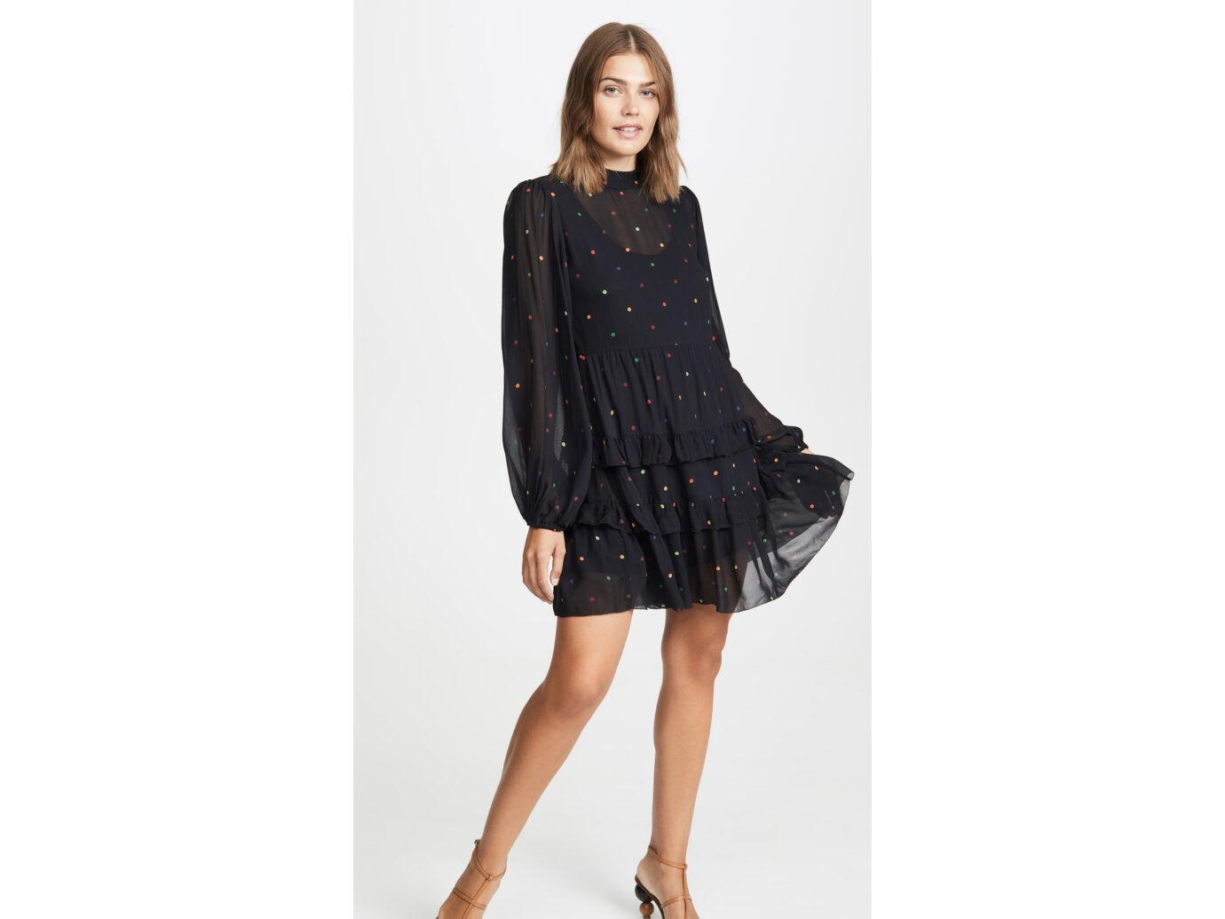 FARM Rio Black Dots Mini Dress