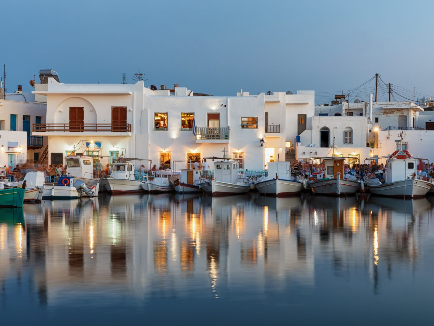 harbor at night in Naoussa, Greece