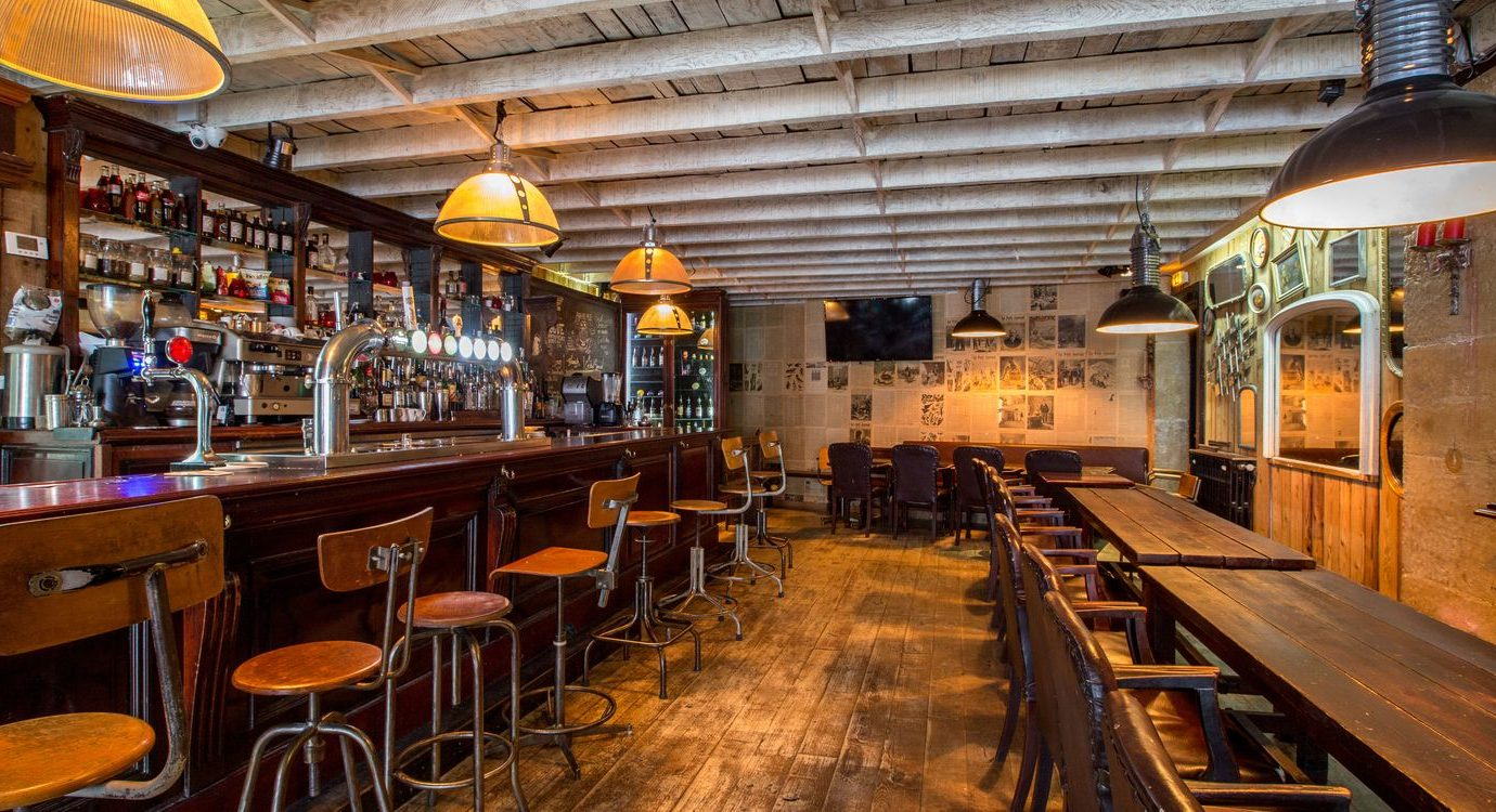 Wooden interior and bar at The Green Goose