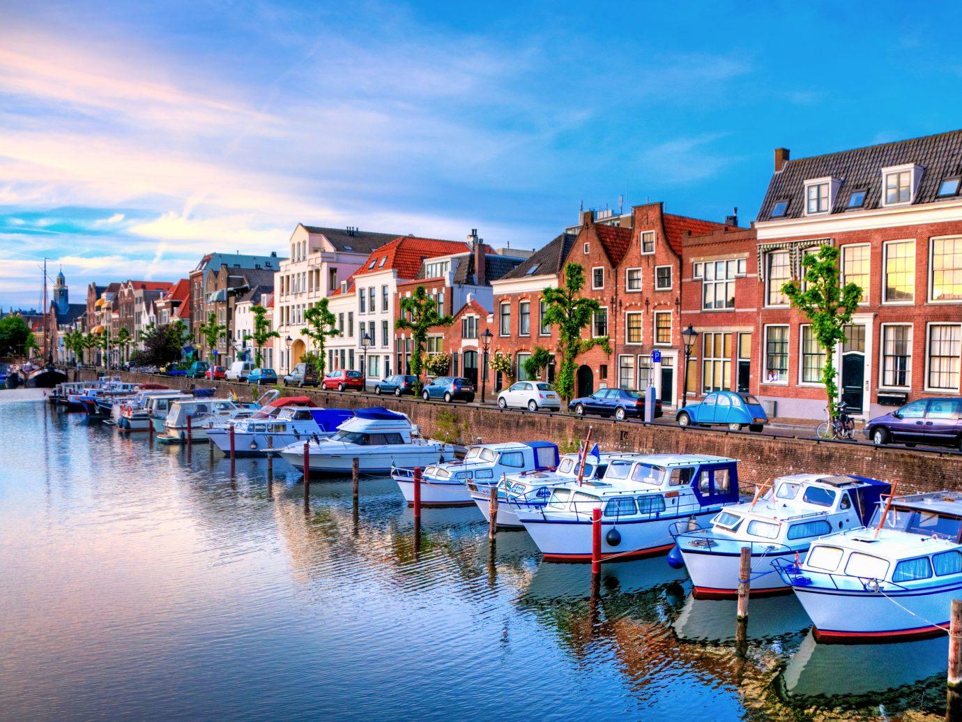 Historic cityscape along a channel in Delfshaven, a district of Rotterdam