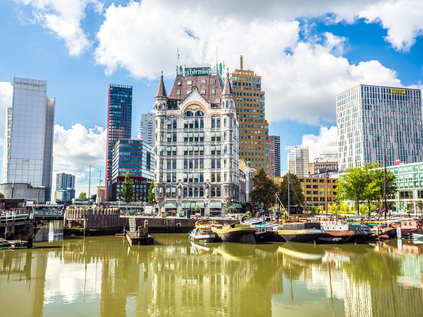 Rotterdam city center with harbor