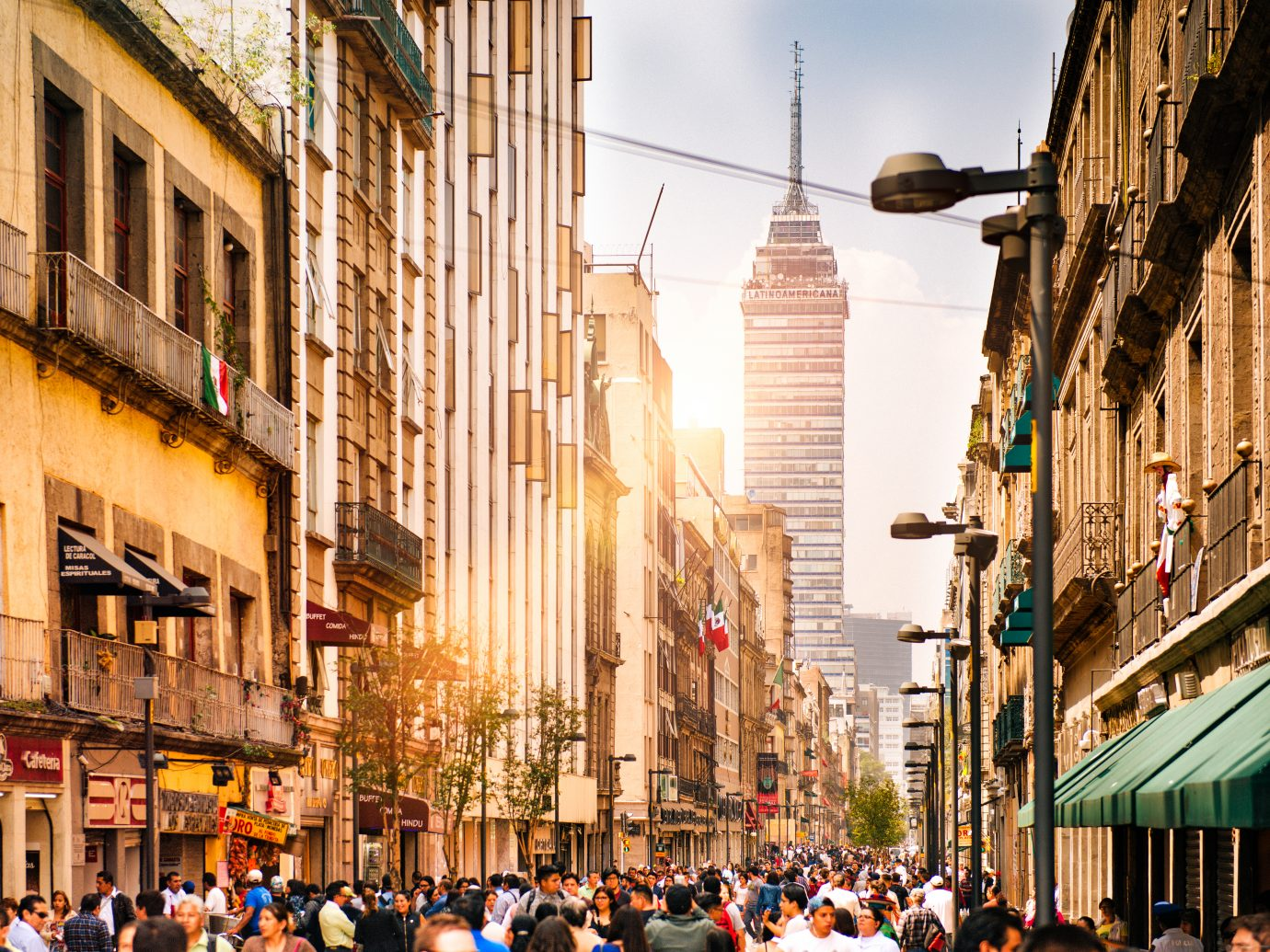Street view of Torre Latinoamericana from The Zocalo Square in Mexico City.