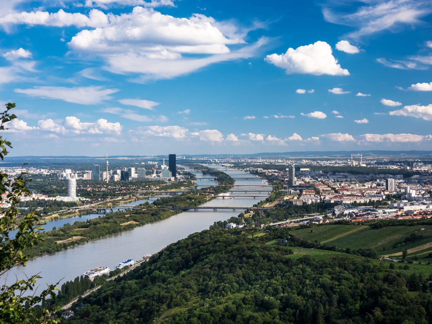 view of Vienna with danube river