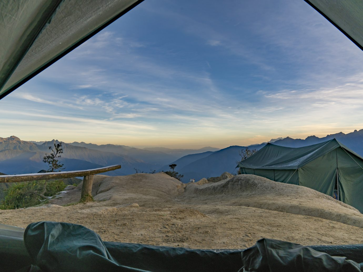 The third campsite on the Inca Trail is on top of a mountain ridge overlooking the Sacred Valley