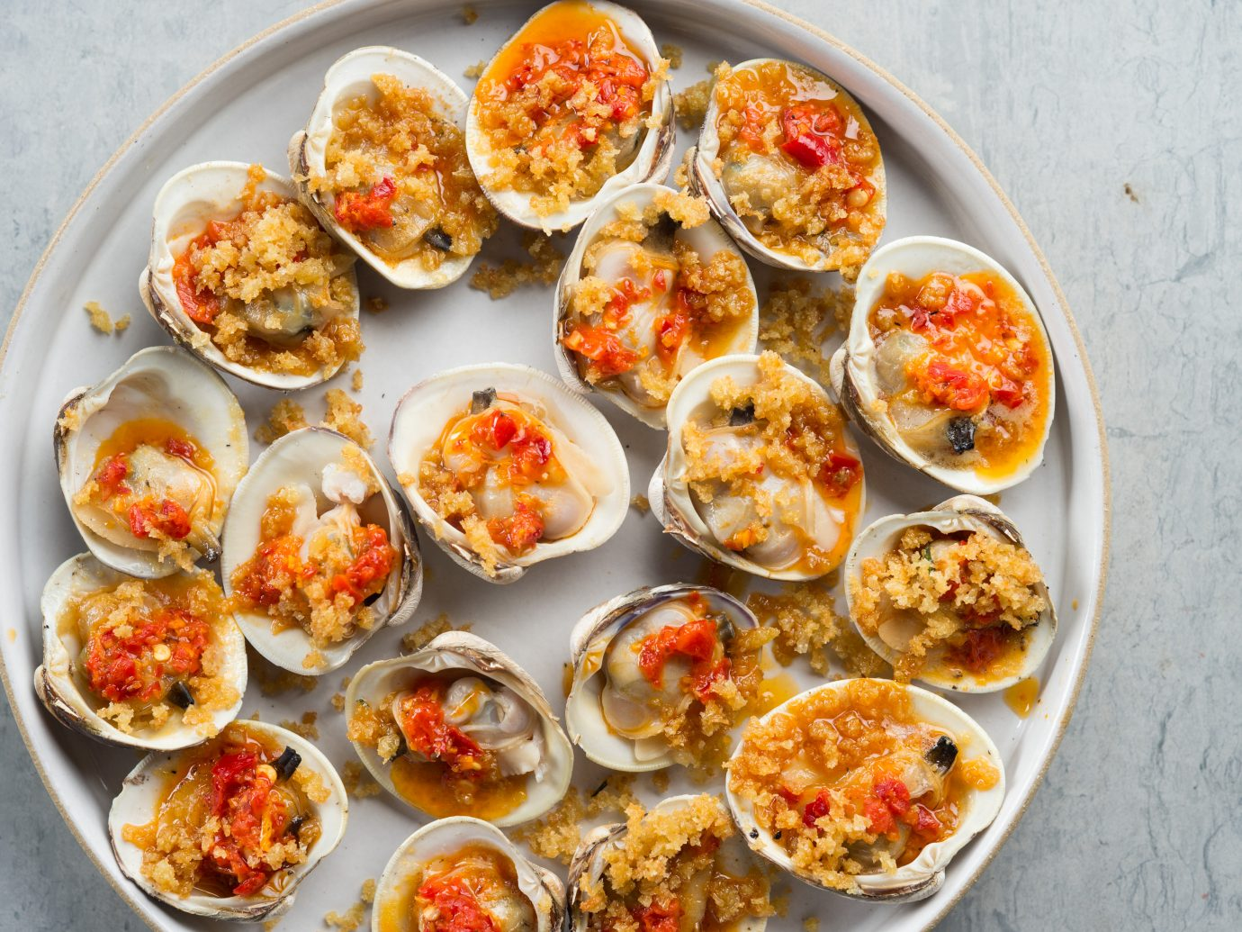 Grilled Clams, Calabrian Chili, Breadcrumbs
