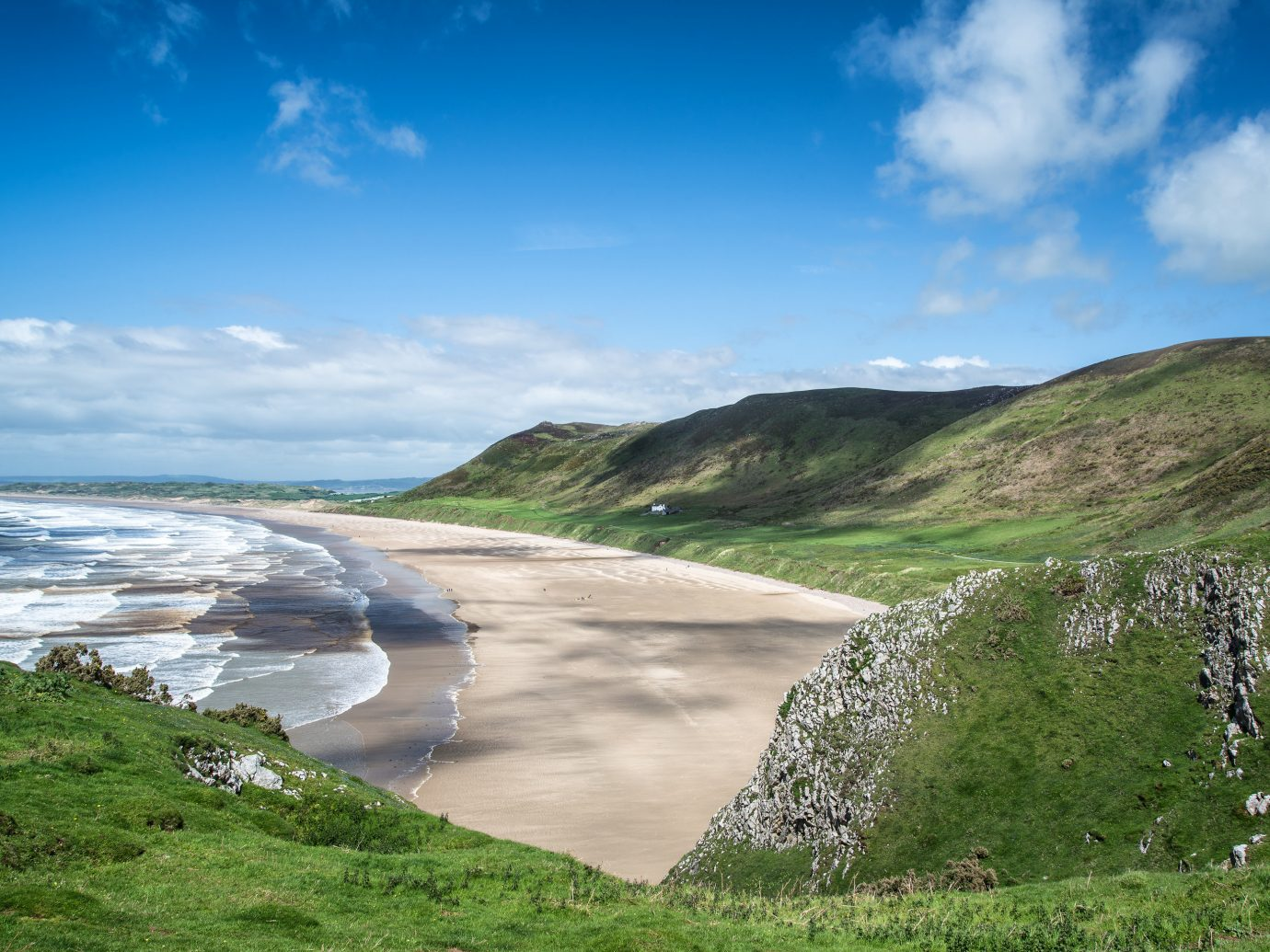 Beach in Rhossili Bay, Wales