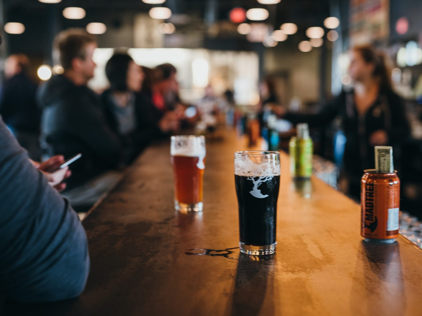 the bar and craft beers at MadTree Brewing