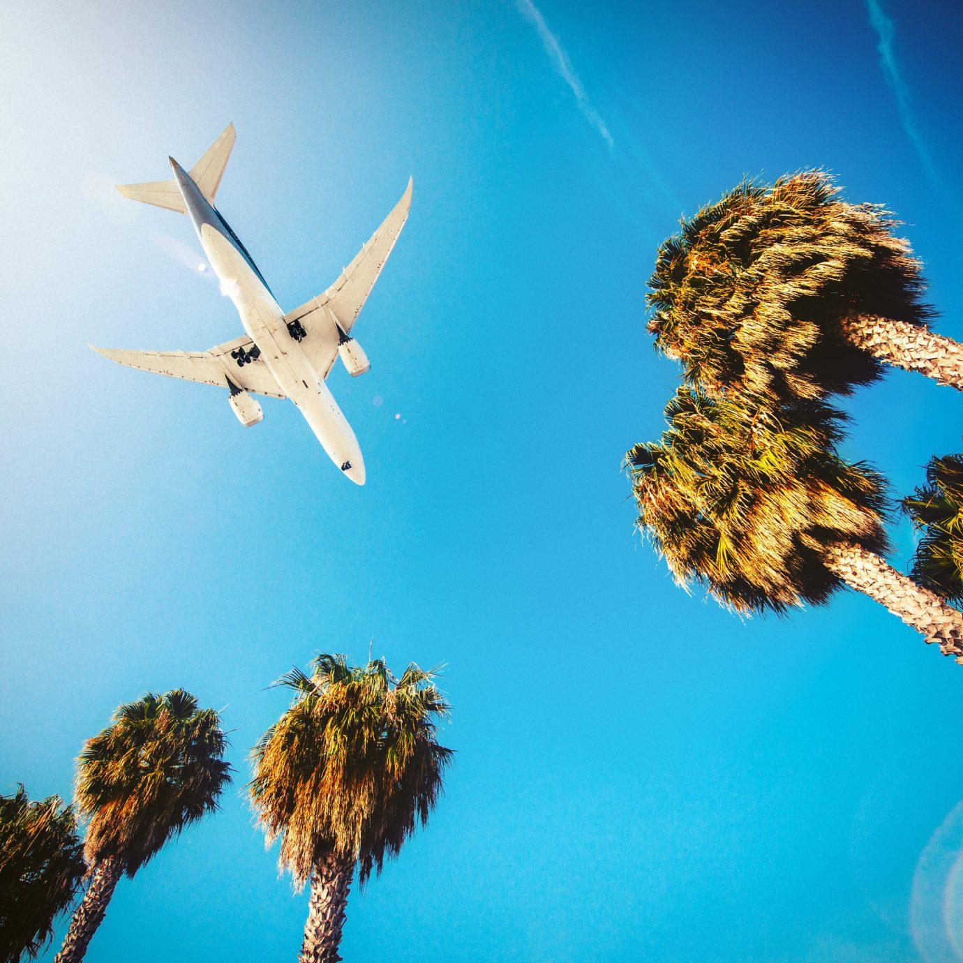 A plane flying through a bright blue sky