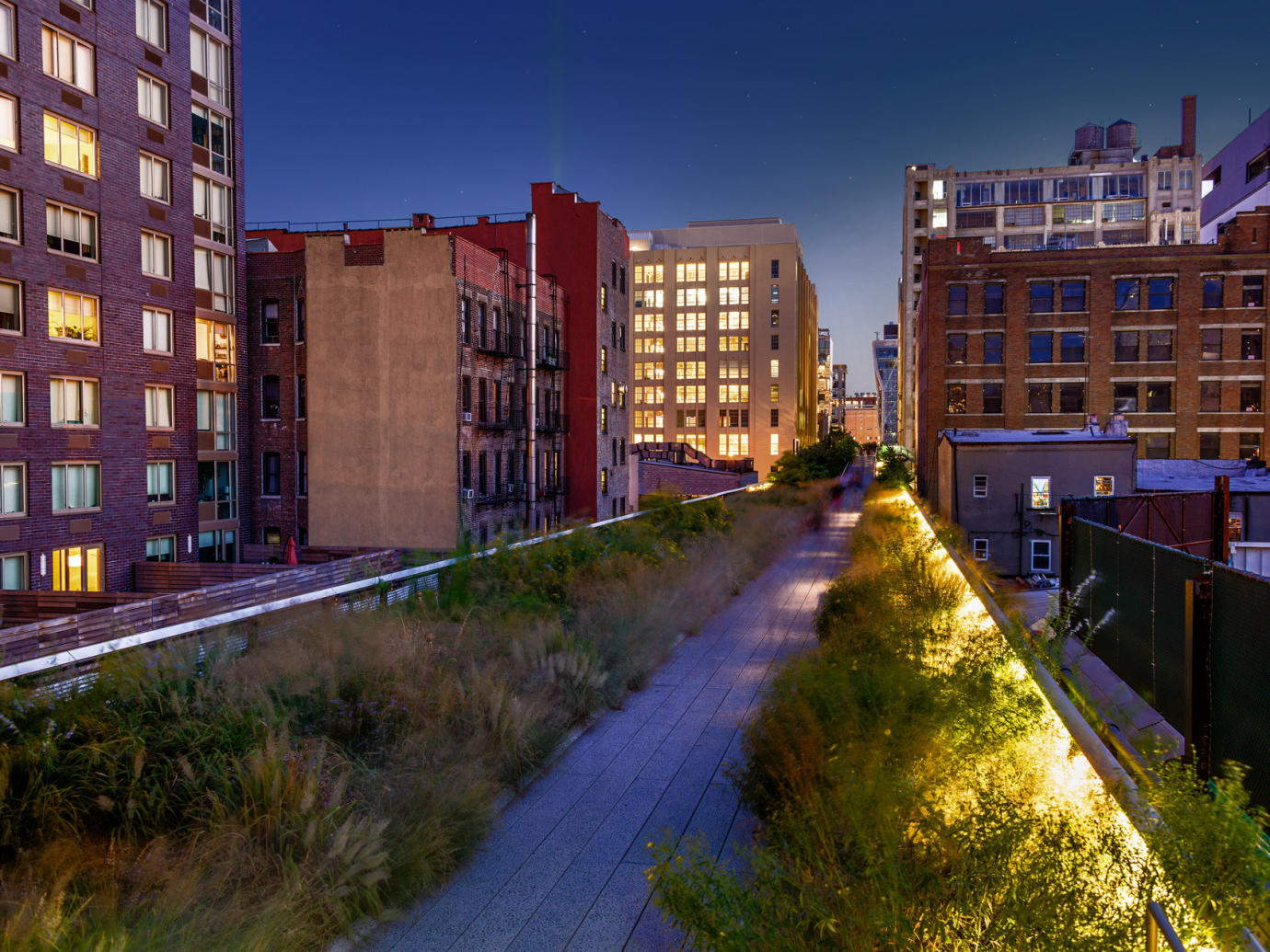 The High Line in NYC at night
