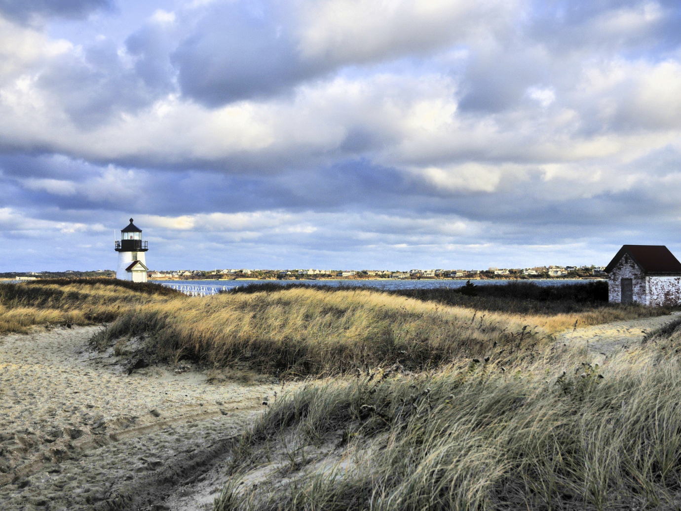 Cold, windy landscape with lighthouse in Nantucket
