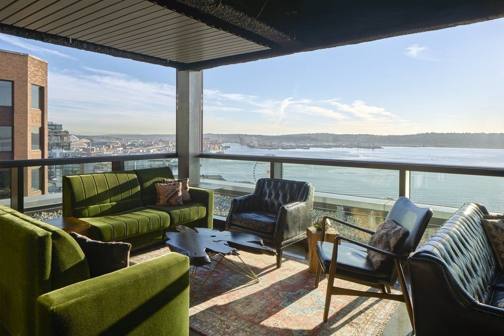 Seating with an open view of Seattle waters at Thompson Seattle