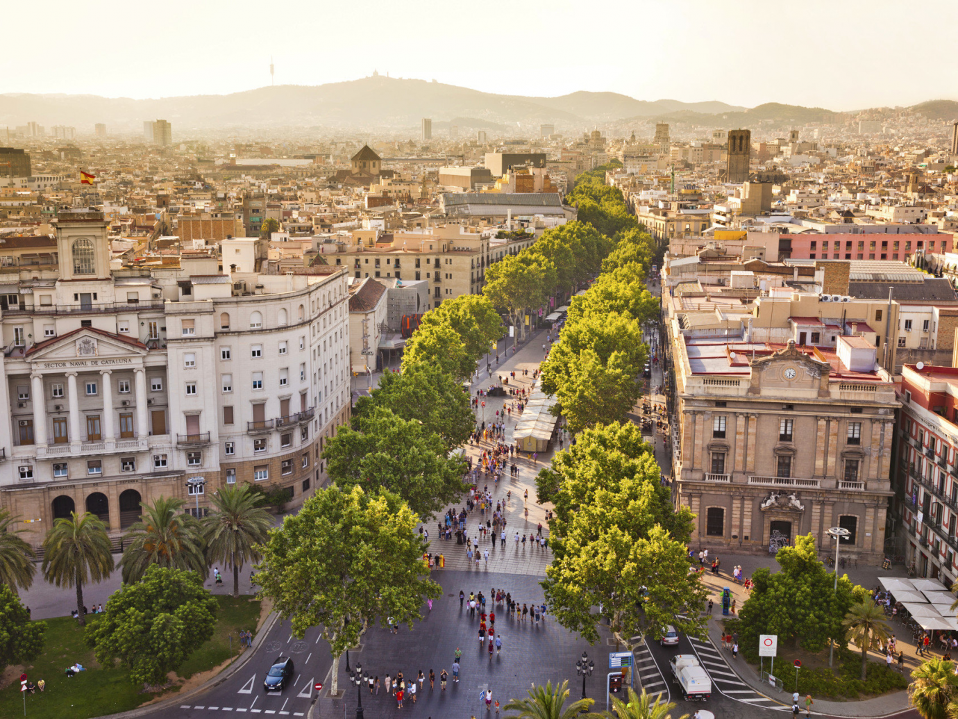 Aerial shot of Barcelona as the sun begins to set