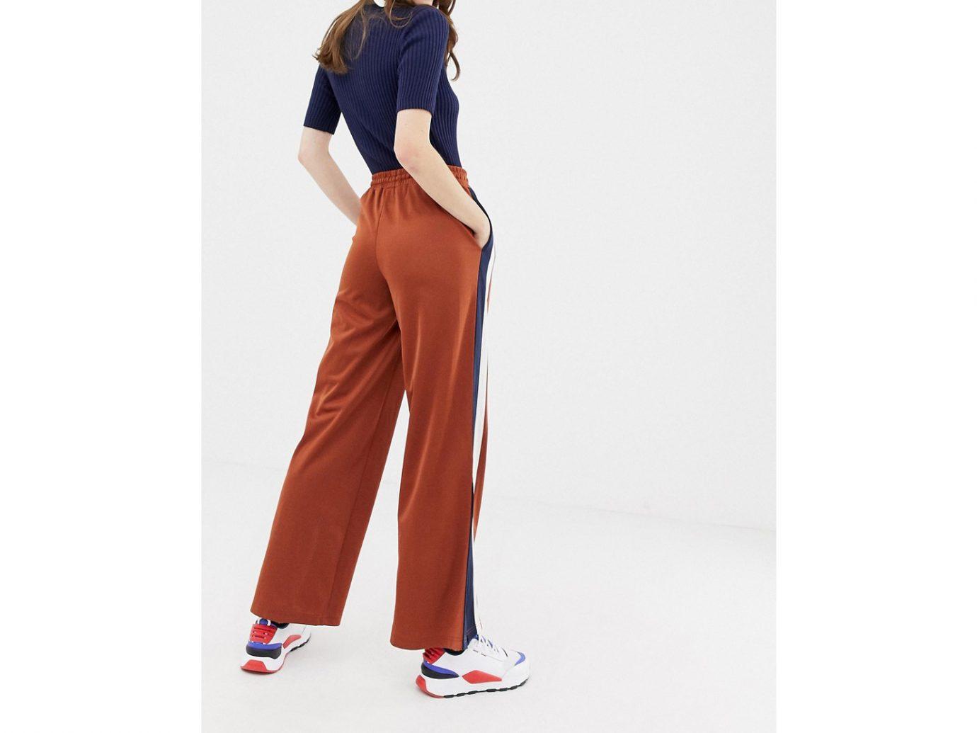 Monki side stripe wide leg track pants in rust