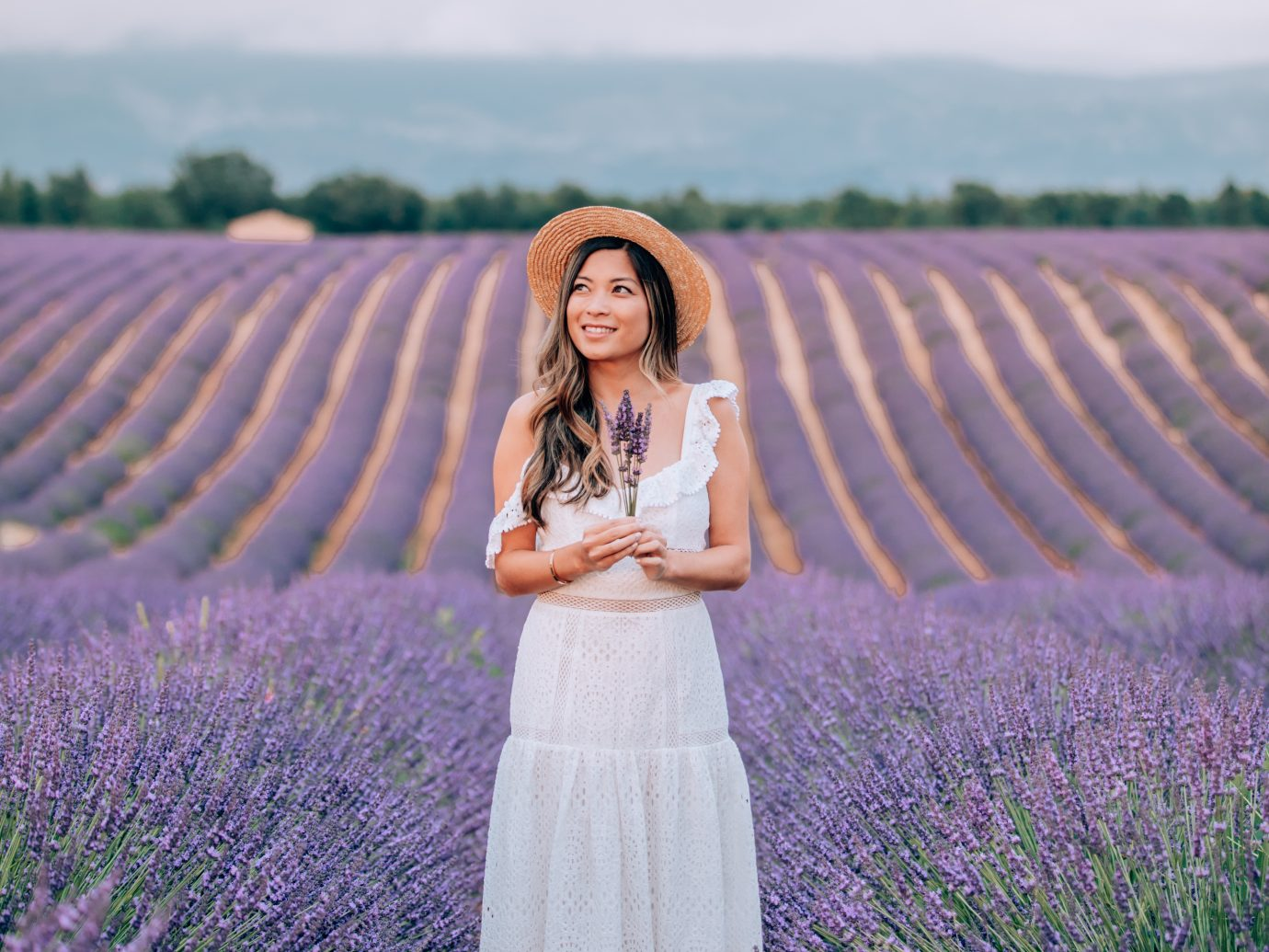 Girl in front of a field of lavender