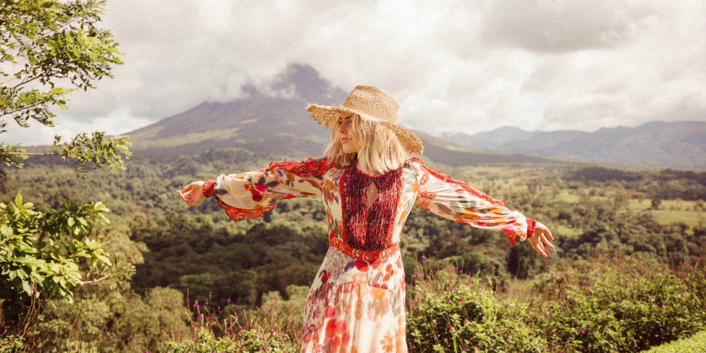 Woman in front of a mountain in Costa Rica