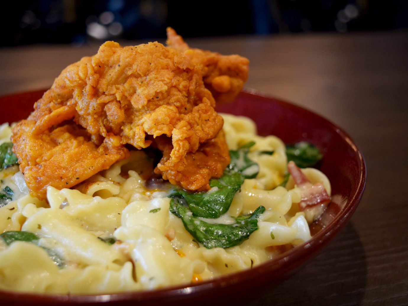 Mac and Cheese with fried chicken