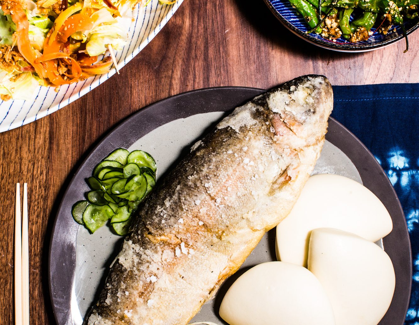 Whole fish dish and two more dishes