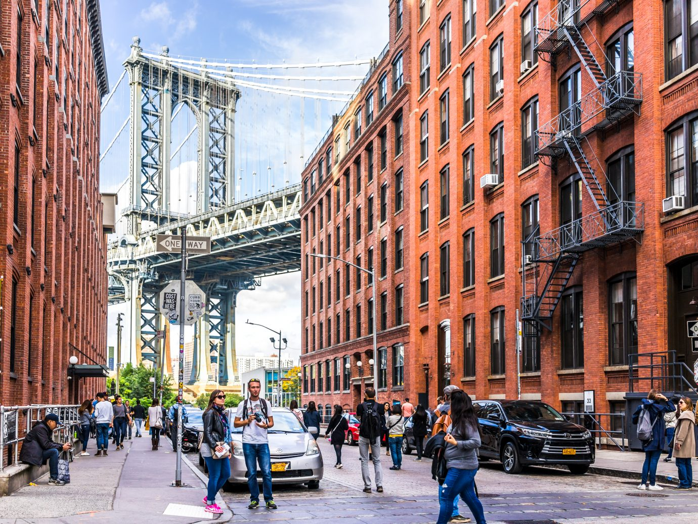 Brooklyn: View of under Manhattan Bridge in Dumbo outside exterior outdoors in NYC New York City,