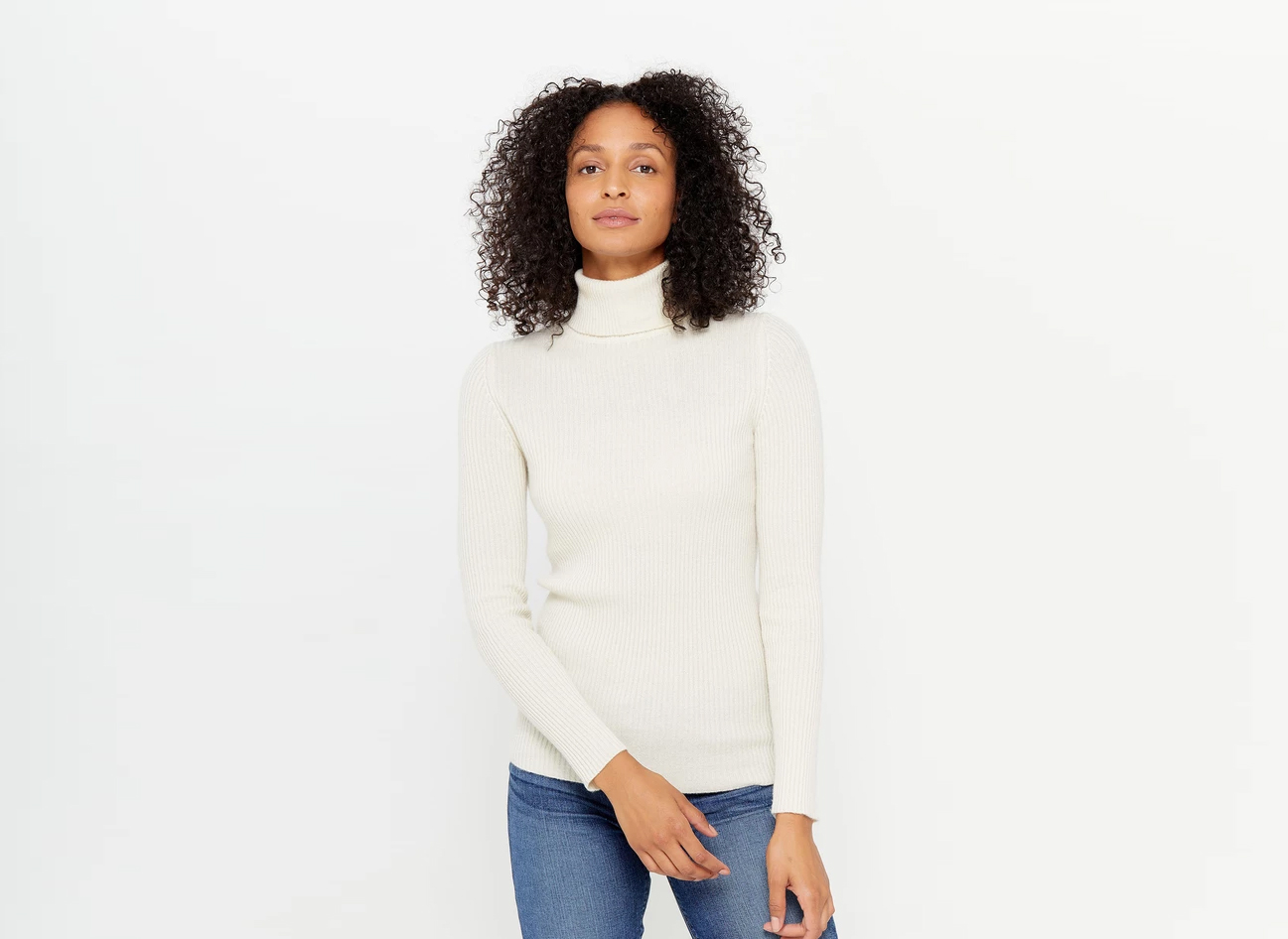State Cashmere Ribbed Turtleneck Cashmere Sweater
