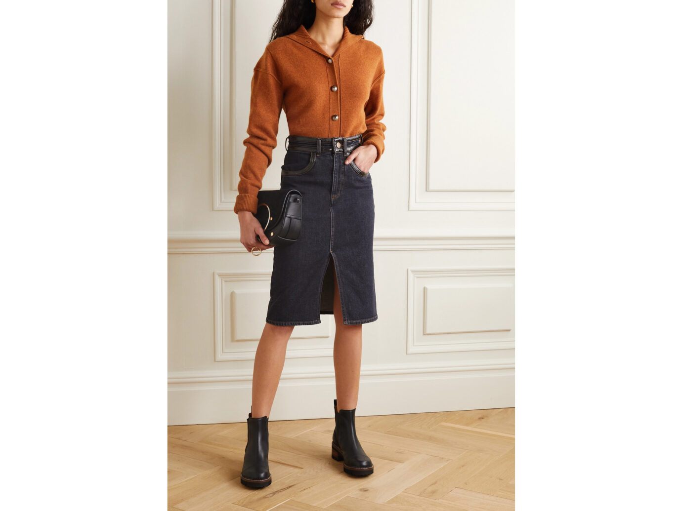 See by Chloe Vinyl-trimmed denim skirt