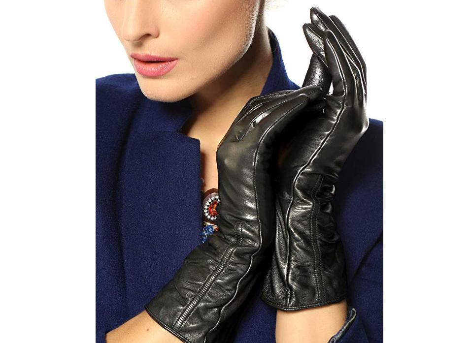 Warmen Women's Lambskin Touchscreen Leather Gloves