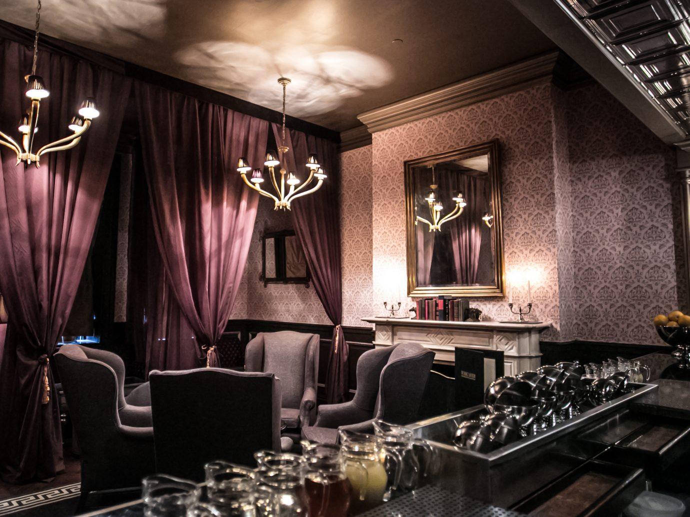 dim lit lounge space