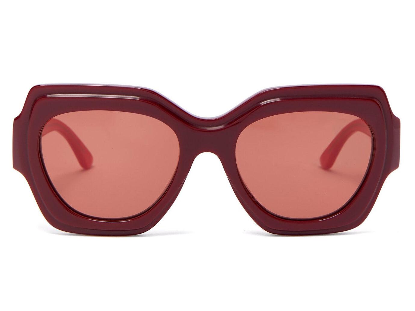 Bi-colour square acetate sunglasses