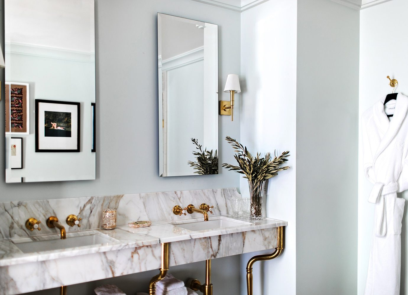 marble bathroom at The NoMad Hotel Los Angeles