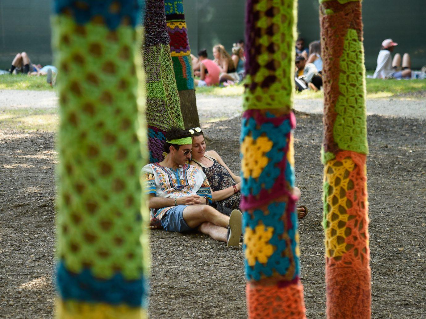 Festivalgoers relax during the 2018 Firefly Music Festival