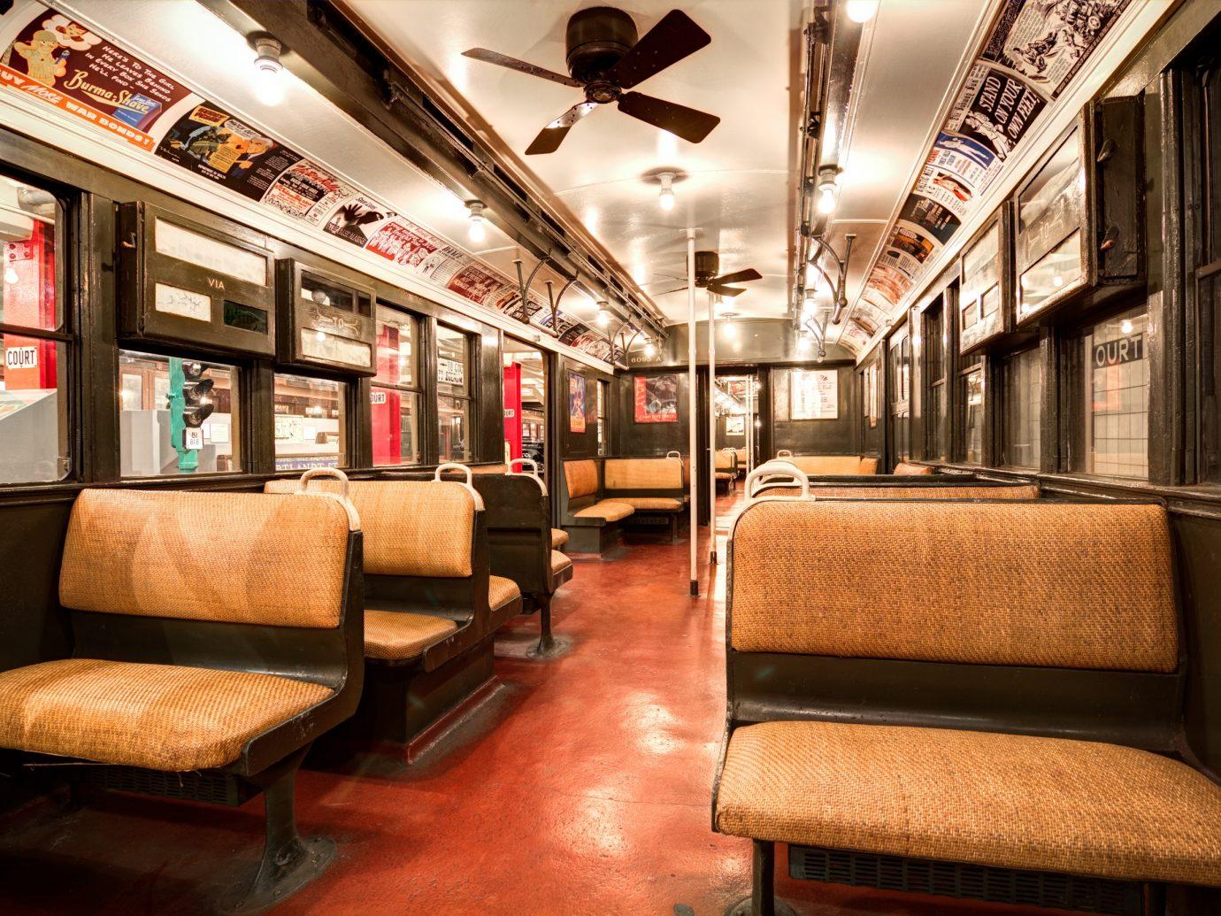 interior of old subway car