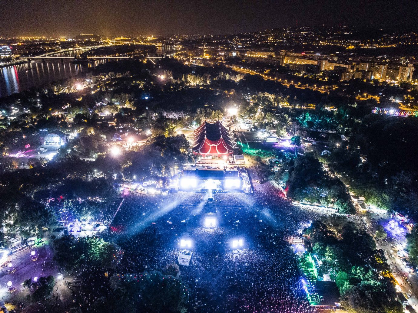 sky view of a lit festival at night