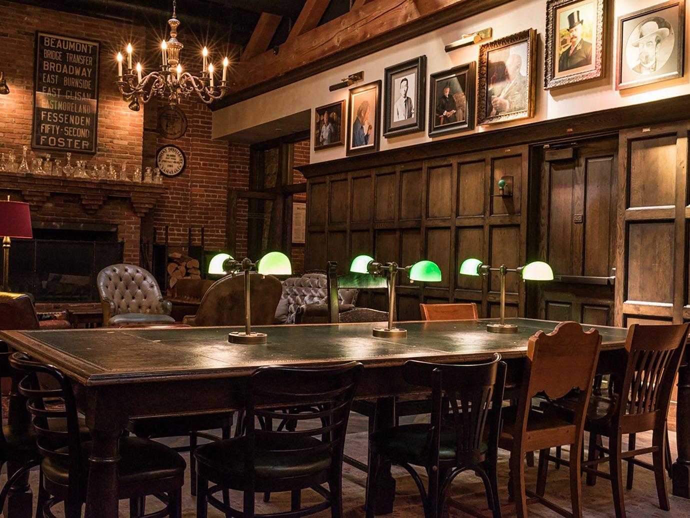 library themed bar interior