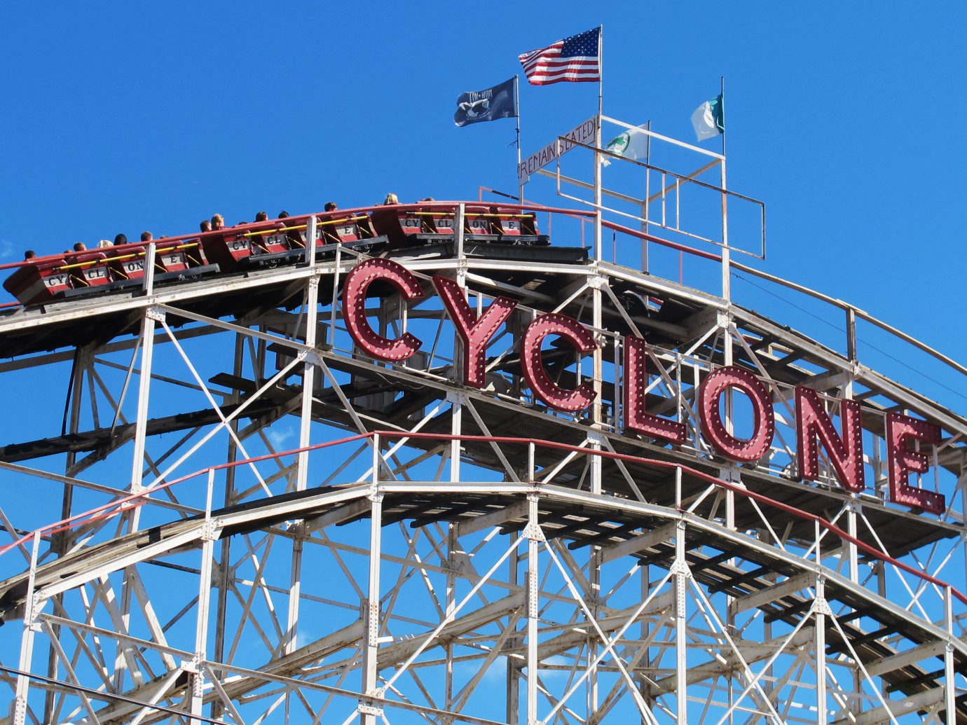 the Cyclone wooden rollercoaster