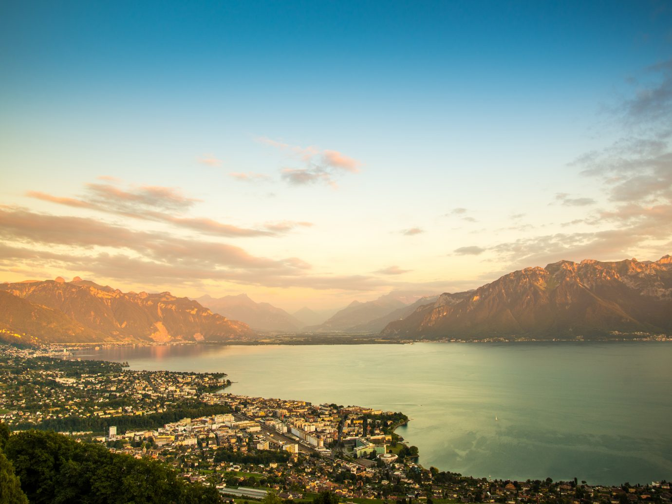 A beautiful view of Montreux besides Lake Geneva in the summertime on sunny day. Switzerland