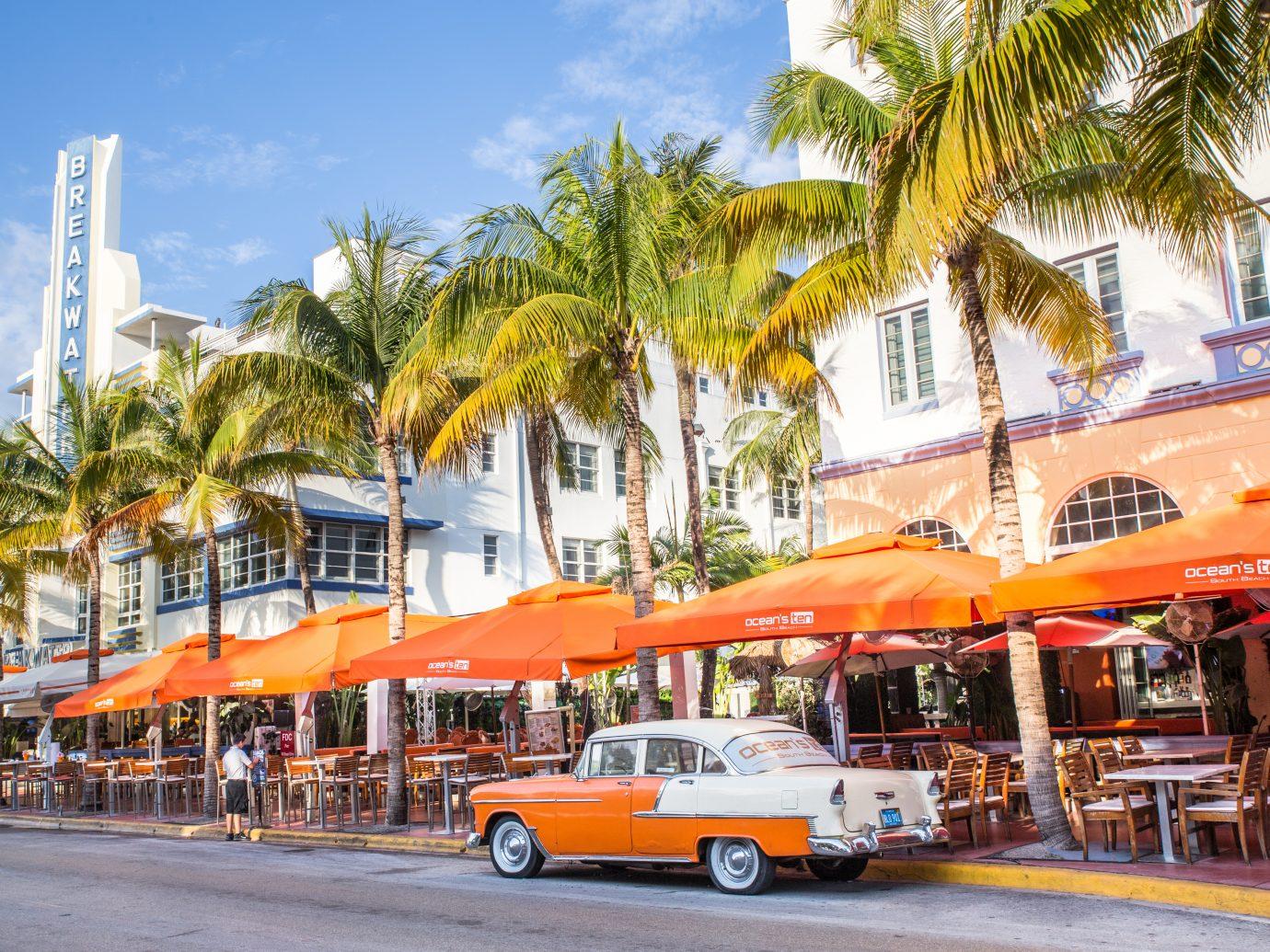 View along Ocean Drive along South Beach Miami