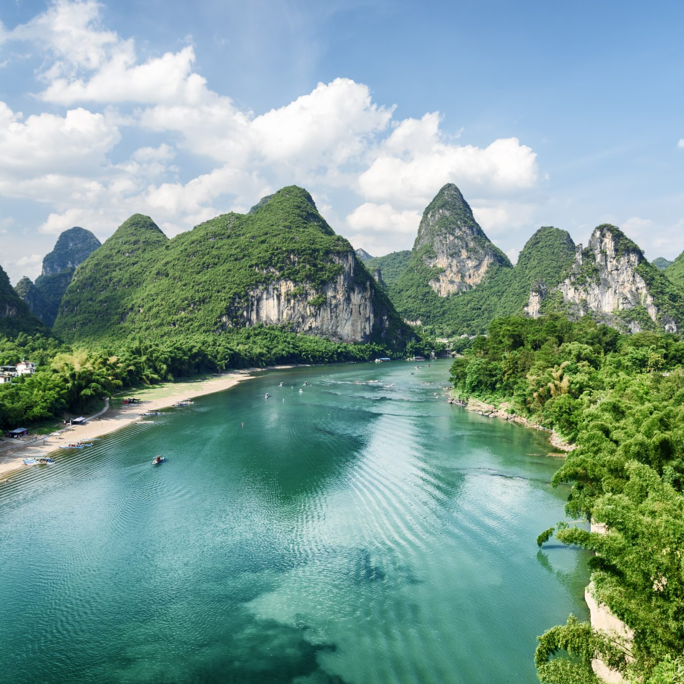 view of karst mountains and the Li River (Lijiang River)