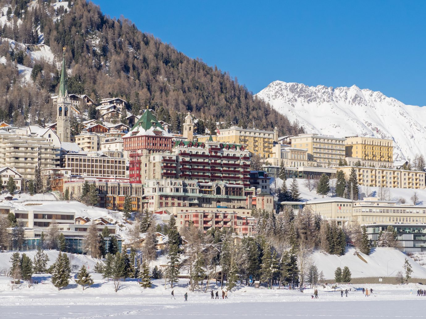 Panorama of Sankt Moritz town in Engadine, Swiss Alps, during winter