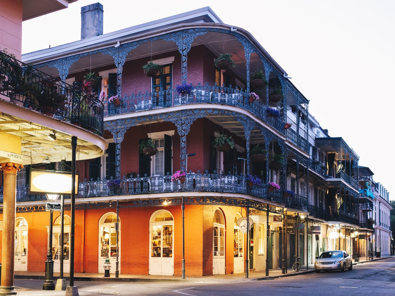 Royal and St Peter streets in French Quarter, New Orleans, Louisiana