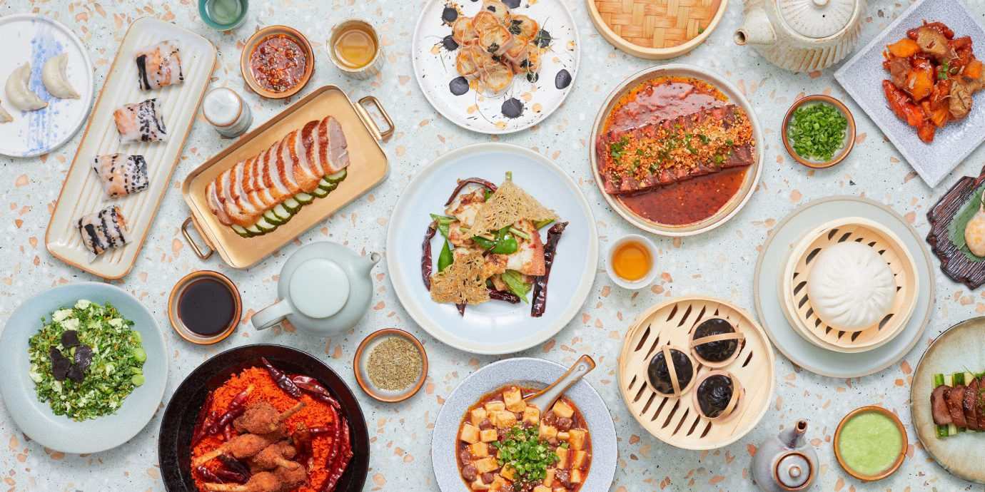 overhead view of numerous dishes at John Anthony