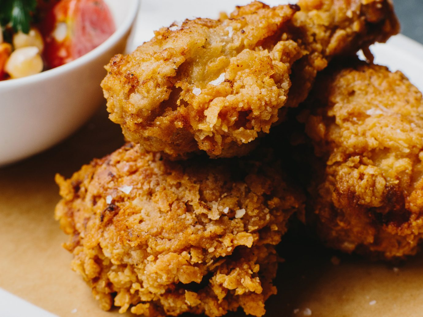 Up Close photo of a fried chicken platter