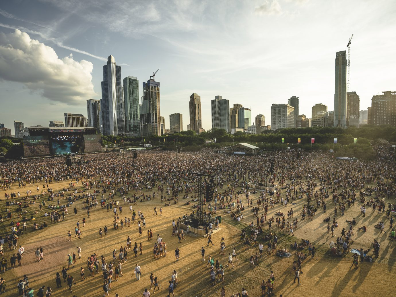 aerial shot of people walking on grass