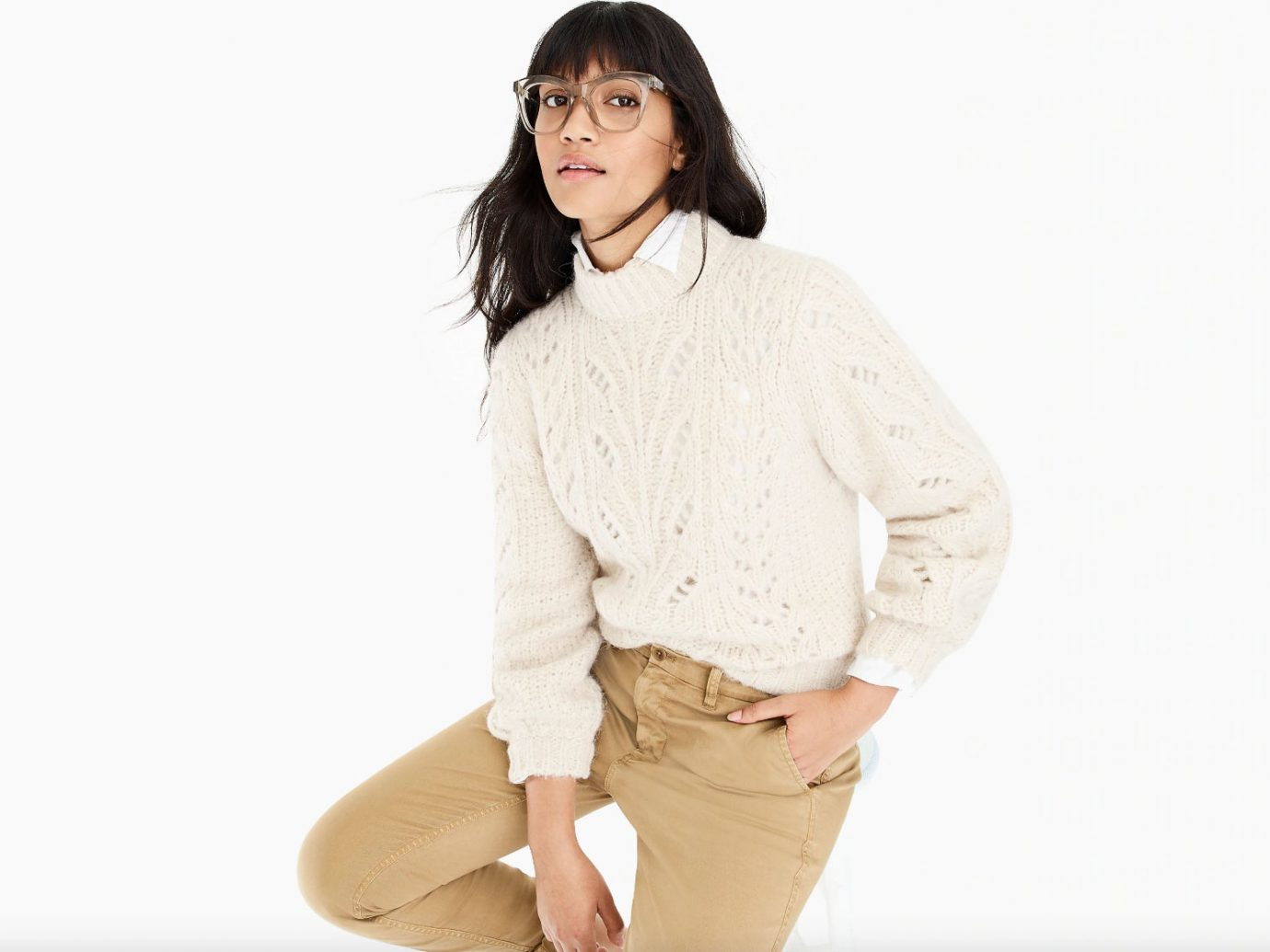 J.Crew Point Sur Pointelle Knit Crewneck Sweater