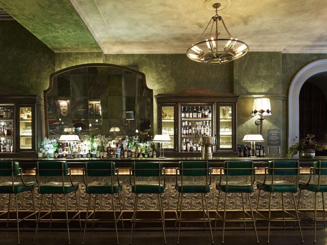 rustic green bar area