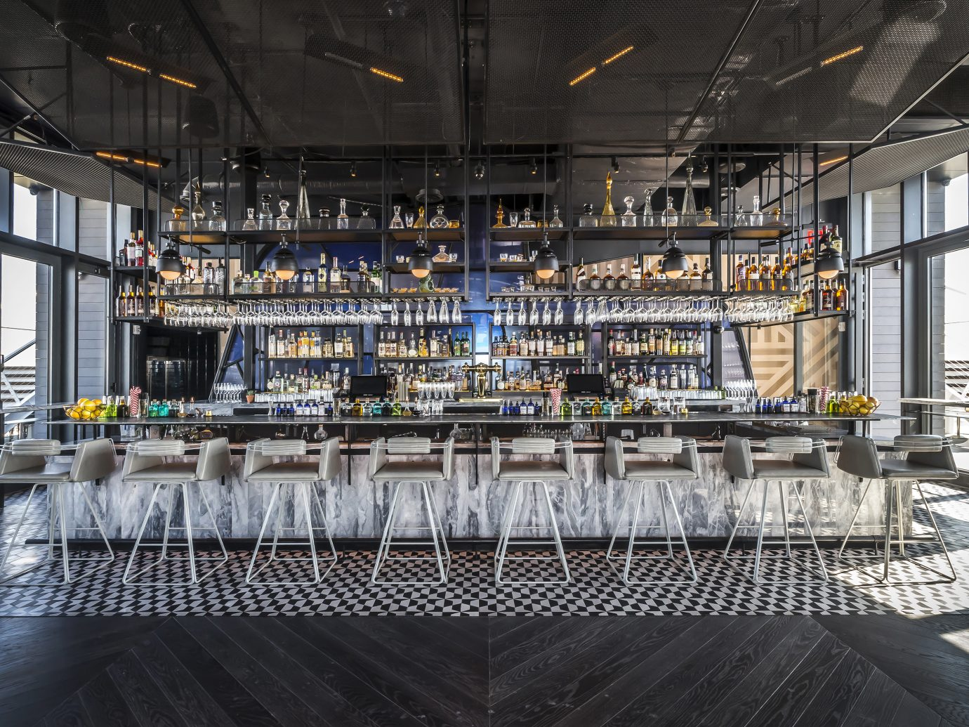 bar area with high stools