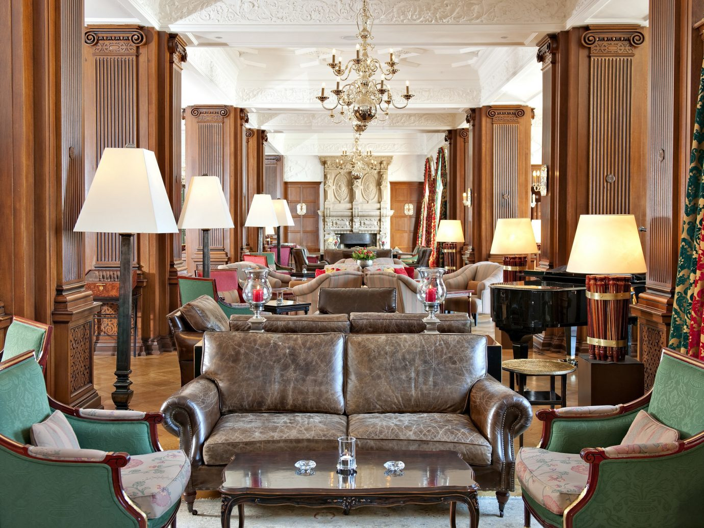 Lobby at the Hotel Carlton in St. Moritz Switzerland