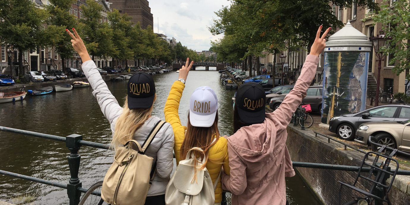 three young women at the bachelorette weekend in amsterdam